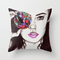 marina Throw Pillows featuring Marina  by annelise johnson