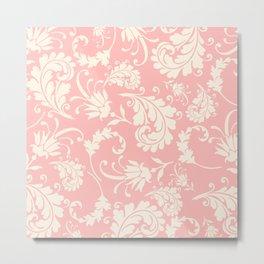 Vintage pink ivory chic floral damask pattern Metal Print