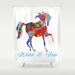OLena Art Colorful Horse Design Wild and Free Shower Curtain