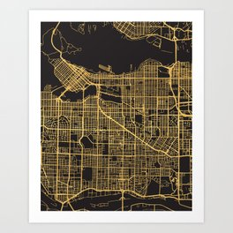 VANCOUVER CANADA GOLD ON BLACK CITY MAP Art Print