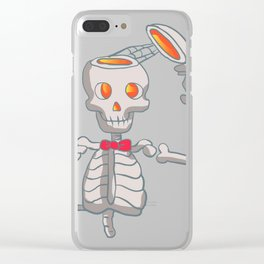 Funny skeleton with bowtie. Clear iPhone Case
