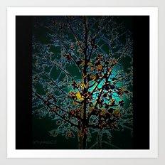 Autumn Tree on Turquoise Background Art Print