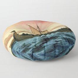 Drakkar, watercolor Floor Pillow