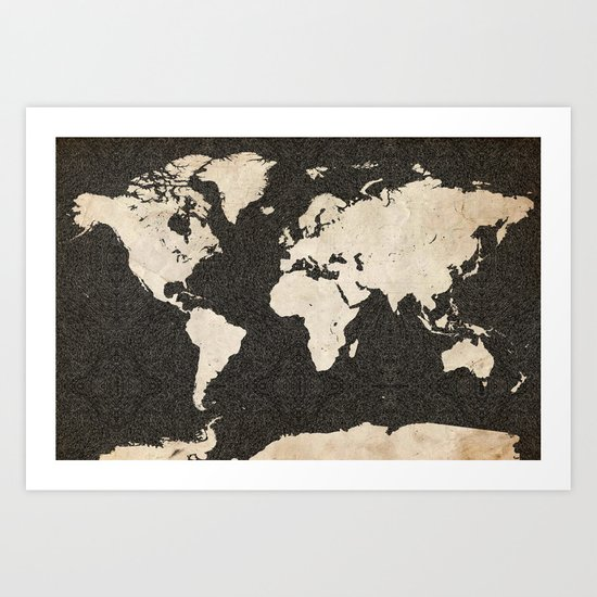 World Map - Ink lines Art Print