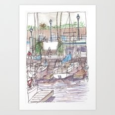 Resting at the Pier Art Print