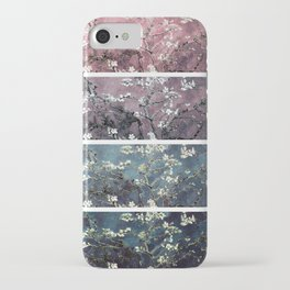 Vincent Van Gogh : Almond Blossoms Panel aRt Dark Pink Eggplant Teal iPhone Case