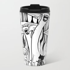 The Singing Mushrooms & The Zebra Cat Metal Travel Mug