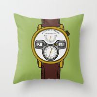 jessica lange Throw Pillows featuring A. Lange by Illustrated by Jenny