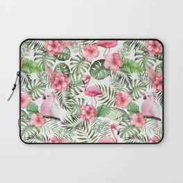 Watercolor Tropical Leaves Flowers Flamingo Cockatoo Laptop Sleeve