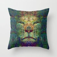the lion king Throw Pillows featuring Lion King by Zandonai