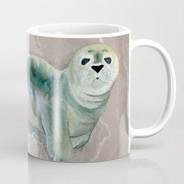 Gray Seal Where the Ocean Meets the Sand Coffee Mug