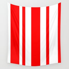 Mixed Vertical Stripes - White and Red Wall Tapestry