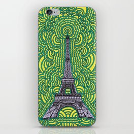Eiffel Tower Drawing Meditation - purple/yellow/teal iPhone Skin