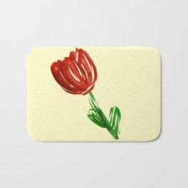 Single Rose on Soft Yellow Bath Mat