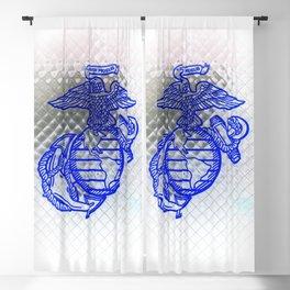 Marine Corps Semper Fidelis Eagle Globe Anchor Blue & White Blackout Curtain