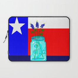 A Texas Flag and Blue Bonnets in a Jar Laptop Sleeve