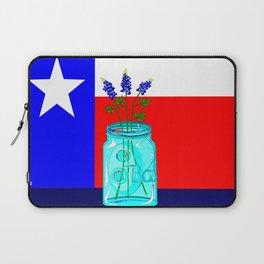 A Texas Flag and Blue Bonnets in a Jar Laptop Sleeve