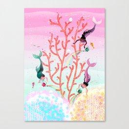 Mermaids' Coral Garden childrens' illustration Canvas Print