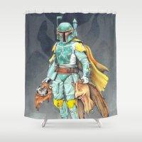 ewok Shower Curtains featuring Star Wars Boba Fett and friends by Alexandra Bastien