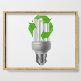 Energy saving bulb with recycle sign Serving Tray
