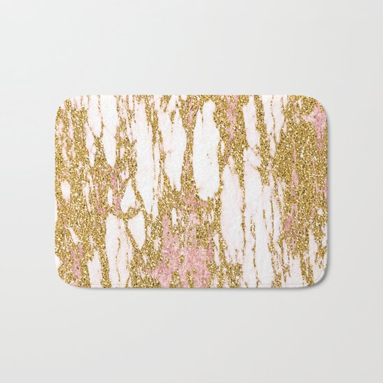 Gold Marble - Intense Glittery Yellow and Rose Gold Marble Bath Mat