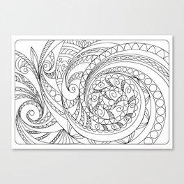 abstract zen tangled pattern swirl Canvas Print
