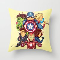 avenger Throw Pillows featuring The Avenger by rendhy wahyu
