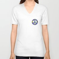 asia V-neck T-shirts featuring Asia Blue by gretzky
