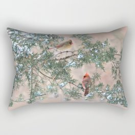 Winter Pair Cardinals (sq) Rectangular Pillow