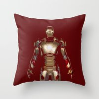 iron man Throw Pillows featuring Iron Man  by George Hatzis