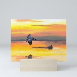 Seascape with sea birds during sunset Mini Art Print