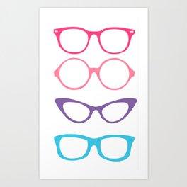 Retro Vintage Nerdy Glasses Pattern Art Print