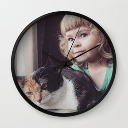 Little girl with cat Wall Clock