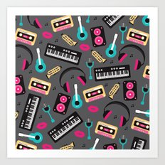 Jazz music instruments and sounds pattern Art Print