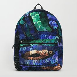 Green Blue Champagne Sequin Sparkle Backpack