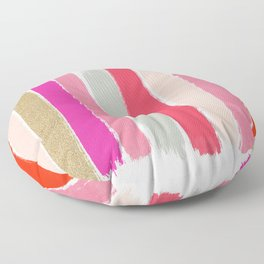Minnie - Abstract Brushstroke pattern print in modern colors gold pink Floor Pillow