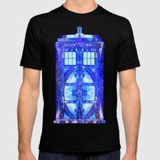 The Tardis LARGE Black Mens Fitted Tee