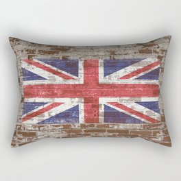 UK National Flag United Kingdom Union Jack on Brick Rectangular Pillow