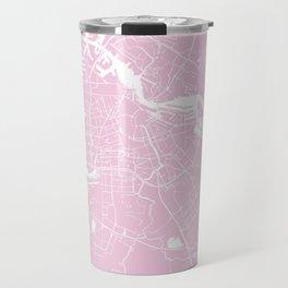Amsterdam Pink on White Street Map Travel Mug