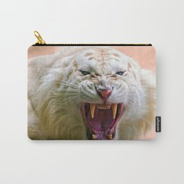 Amazing Beautiful Scary White Tiger Meow Close Up UHD Carry-All Pouch