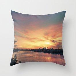 Sunset River - Sacramento River Throw Pillow