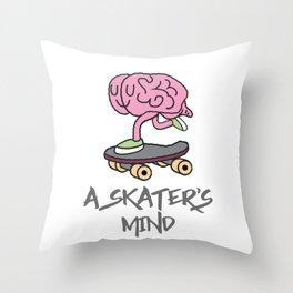 Skateboarding Skater Brain A Skater's Mind Sk8er Throw Pillow