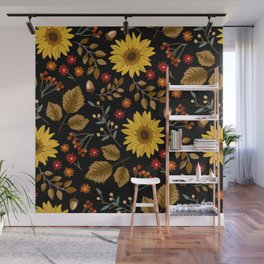 Autumn sunflowers with black background pattern. Maple leaves, sunflowers, flowers ditsy.  Wall Mural