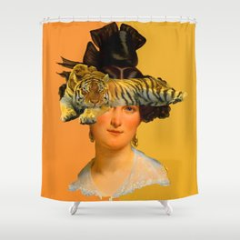 GENTLEWOMAN FACE WITH SLEEPING TIGER I Shower Curtain