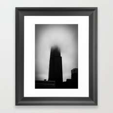 Sears Tower in Fog Chicago Black and White Photo Framed Art Print