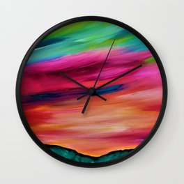 ROSY SKY OVER THE HILLS - Abstract Sky Oil Painting Wall Clock