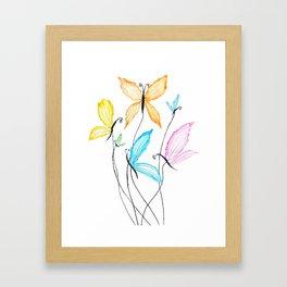 colorful flying butterflies Framed Art Print