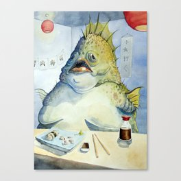 Fish Walks Into a Sushi Bar Canvas Print