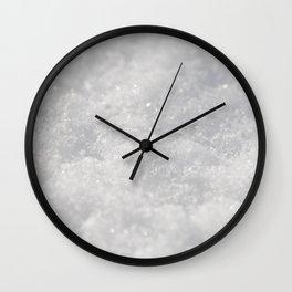 A macro photo of snowy ground Wall Clock