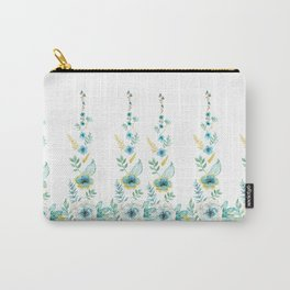 Blue Floral Twist Carry-All Pouch